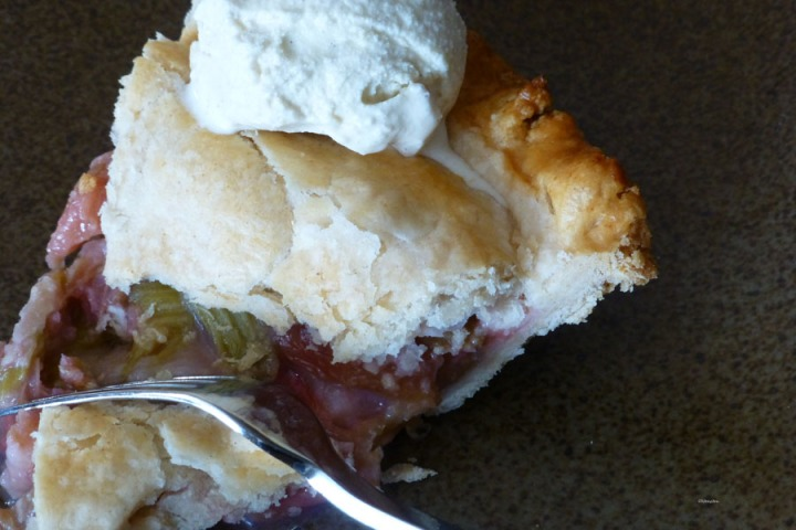 rhubarb pie and icecream