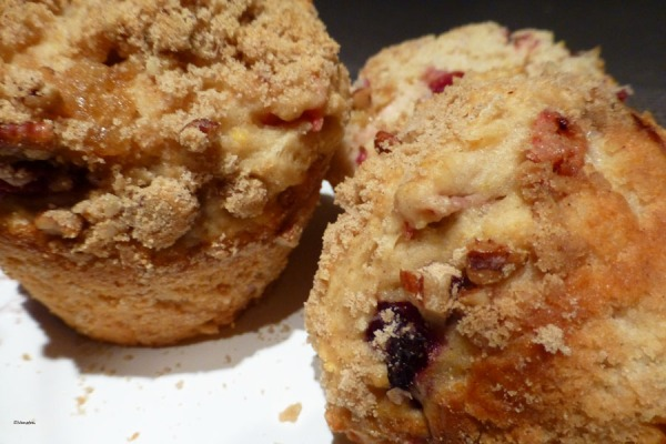 Rhubarb and cherry streusel muffins
